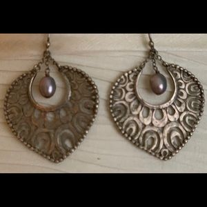 Sterling and pearl filagree earrings